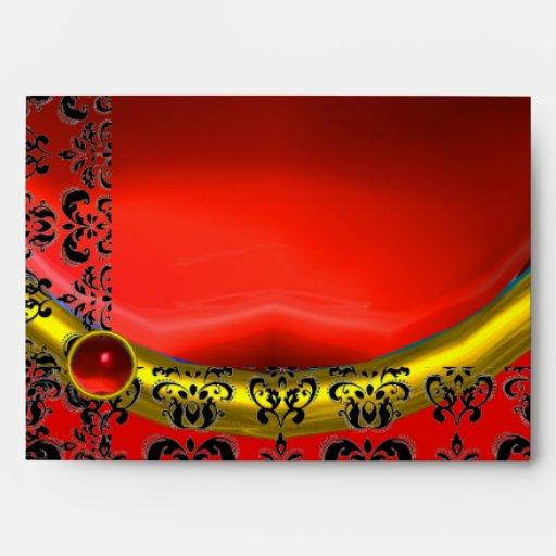 RED AND BLACK DAMASK , GOLD RUBY ENVELOPES