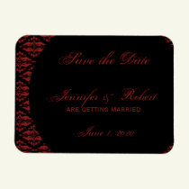 Red and Black Damask Gothic Save the Date Magnet