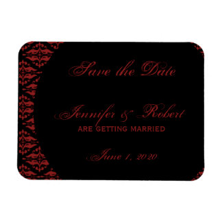 Red and Black Damask Gothic Save the Date Rectangular Photo Magnet