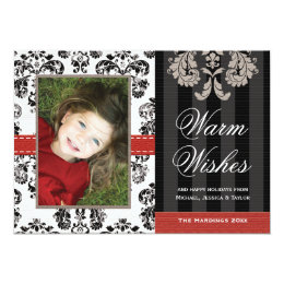 Red and Black Damask Holiday Photo Card