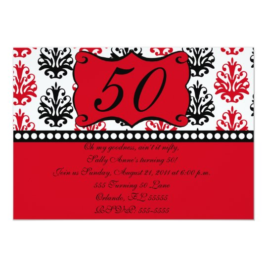 Red and Black Damask Invite