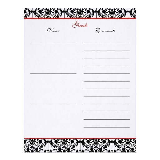 Red and Black Damask Linen Guest Book Paper Letterhead