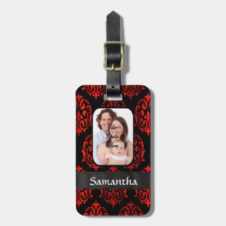 Red and black damask luggage tag