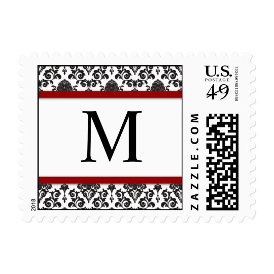 Red and Black Damask Monogram Postage