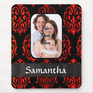 Red and black damask mouse pad