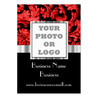 Red and black damask photo logo large business cards (Pack of 100)