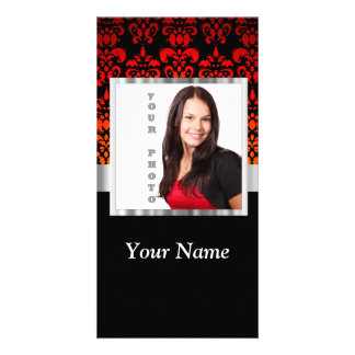 Red and black damask photo template
