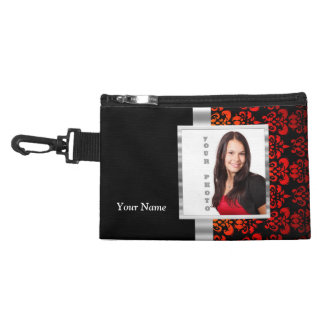 Red and black damask photo template accessory bags