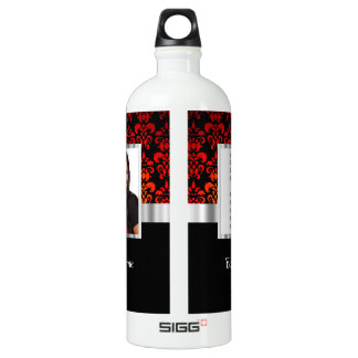 Red and black damask photo template aluminum water bottle