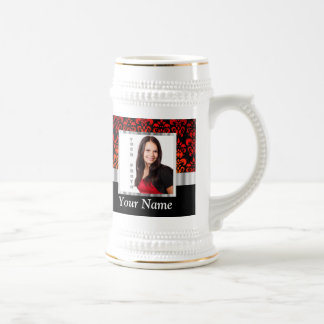 Red and black damask photo template beer stein
