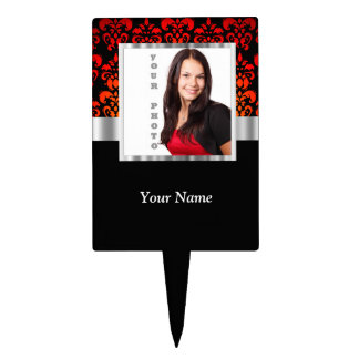 Red and black damask photo template cake topper
