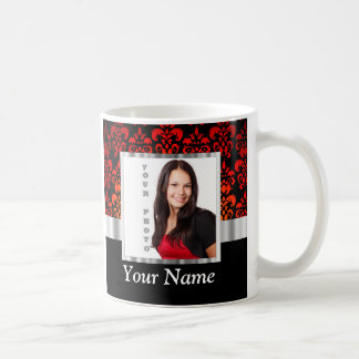 Red and black damask photo template coffee mug