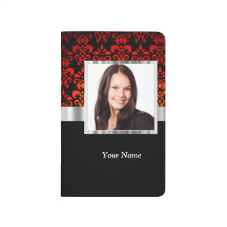 Red and black damask photo template journal