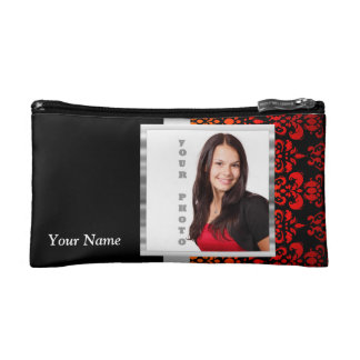 Red and black damask photo template makeup bag