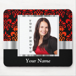 Red and black damask photo template mouse pad