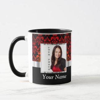 Red and black damask photo template mug