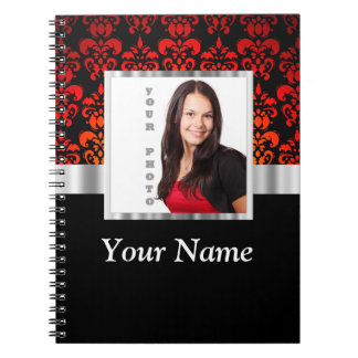 Red and black damask photo template notebook