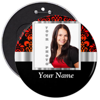Red and black damask photo template pinback button