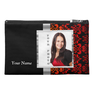 Red and black damask photo template travel accessories bag