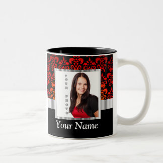 Red and black damask photo template Two-Tone coffee mug