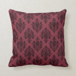 Red and Black Damask Pillow