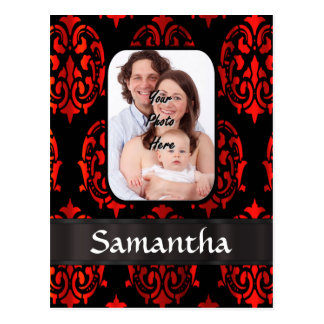 Red and black damask postcard