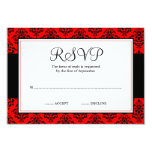 Red and Black Damask RSVP Response Card