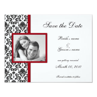 Red and Black Damask Save the Date Photo Cards