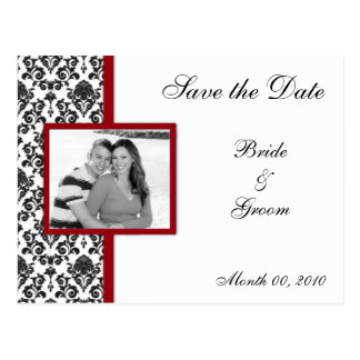 Red and Black Damask Save the Date Photo Postcards