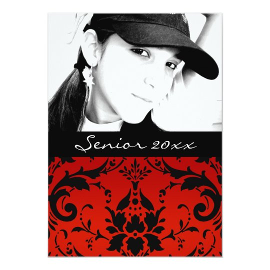 Red and Black Damask Senior Class of 20xx Grad Card