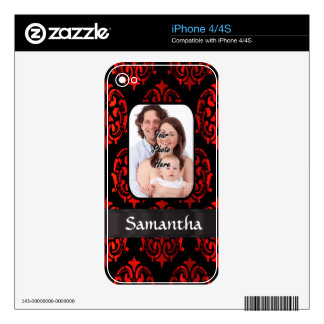 Red and black damask skin for iPhone 4S