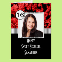 Red and black damask sweet sixteen card