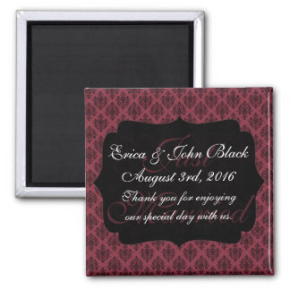 Red and Black Damask Thank You Wedding Favor 2 Inch Square Magnet