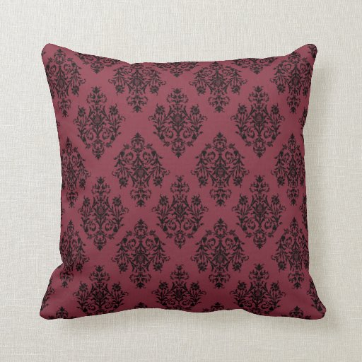 red and black damask throw pillows zazzle. Black Bedroom Furniture Sets. Home Design Ideas