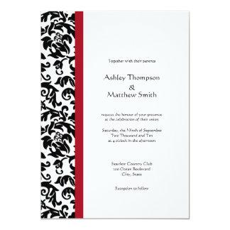 "Red and Black Damask Wedding Invitations 5"" X 7"" Invitation Card"