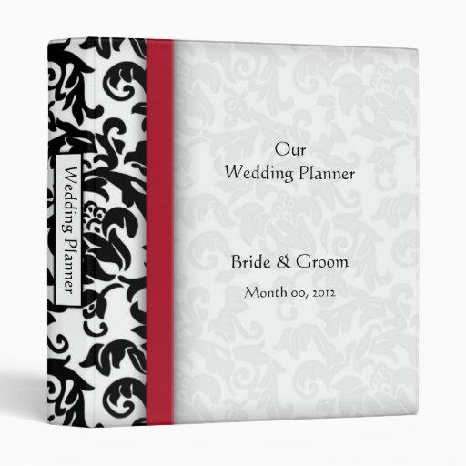 Red and Black Damask Wedding Planner binder