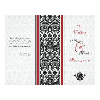 Red and Black Damask Wedding Program