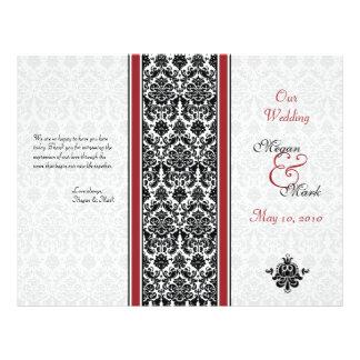 Red and Black Damask Wedding Program