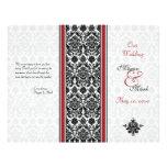 "Red and Black Damask Wedding Program 8.5"" X 11"" Flyer"