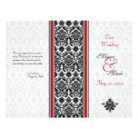 Red and Black Damask Wedding Program Custom Flyer
