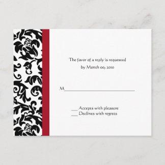 Red and Black Damask Wedding RSVP Cards