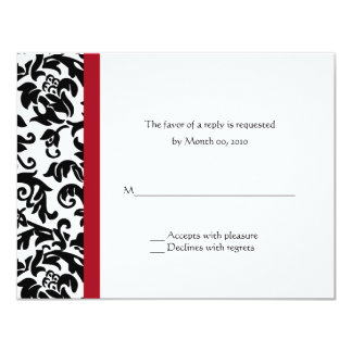Red and Black Damask Wedding RSVP Cards