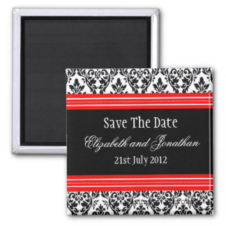 Red and Black Damask Wedding Save The Date 2 Inch Square Magnet