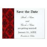 Red and Black Damask Wedding Save the Date Card