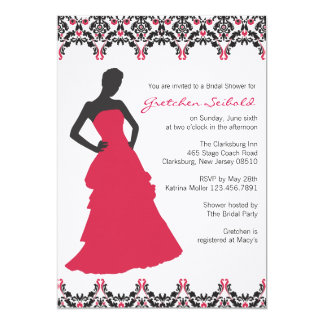Red and Black Damask Wedding Shower Invitation