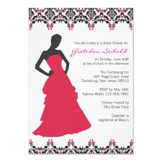 Red and Black Damask Wedding Shower Invitation