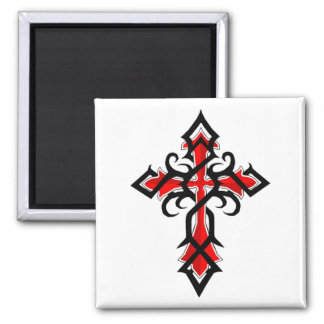 Red and Black Decorative Jesus Christ Cross 2 Inch Square Magnet