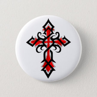Red and Black Decorative Jesus Christ Cross Button