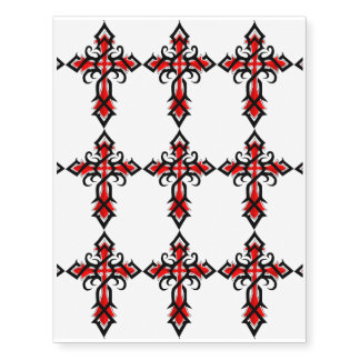 Red and Black Decorative Jesus Christ Cross Temporary Tattoos