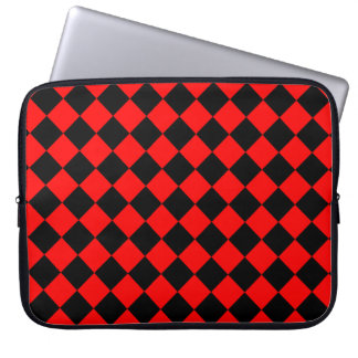 Red and Black Diagonal Checkerboard Design Laptop Computer Sleeves
